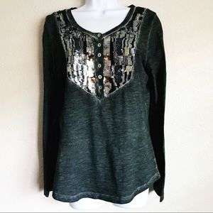 Free People Sequin Embellished Long Sleeve Henley